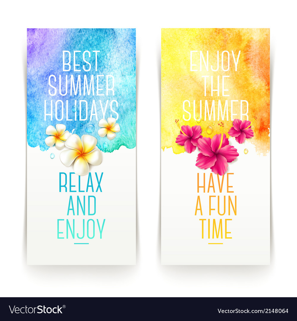 Summer holidays watercolor banners with tropical vector | Price: 1 Credit (USD $1)