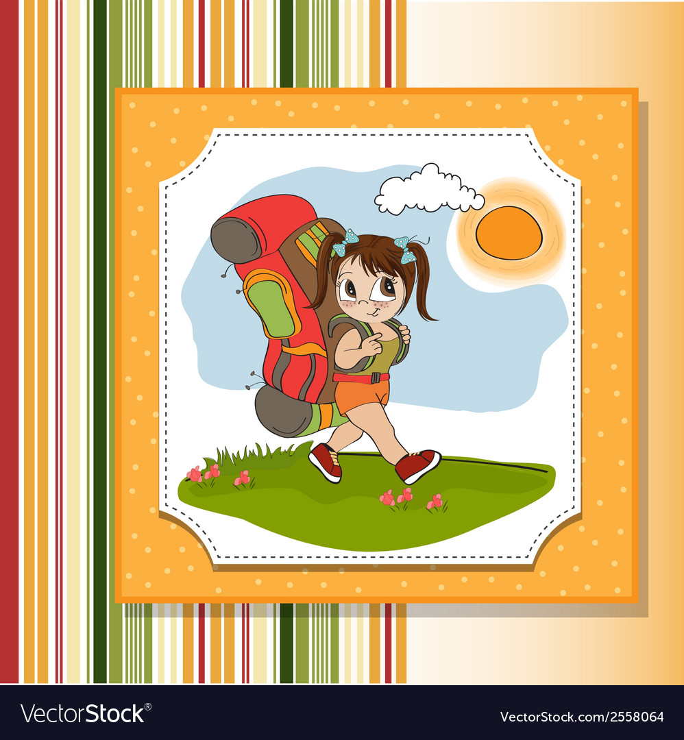 Traveling tourist girl with backpack vector | Price: 1 Credit (USD $1)