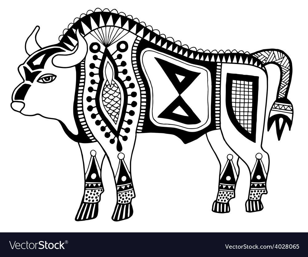 Black and white original ethnic tribal bison vector | Price: 1 Credit (USD $1)