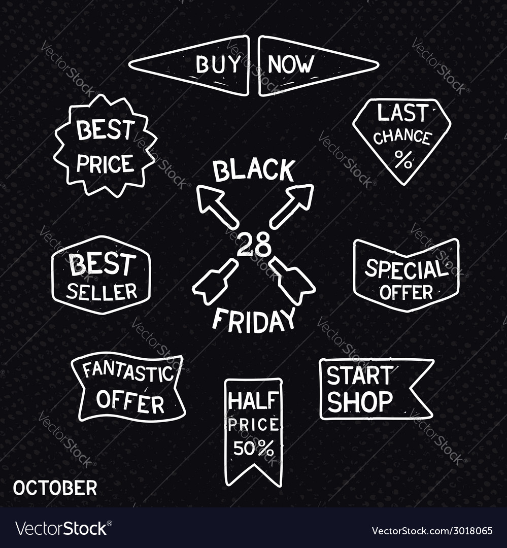 Black friday vintage signs vector | Price: 1 Credit (USD $1)