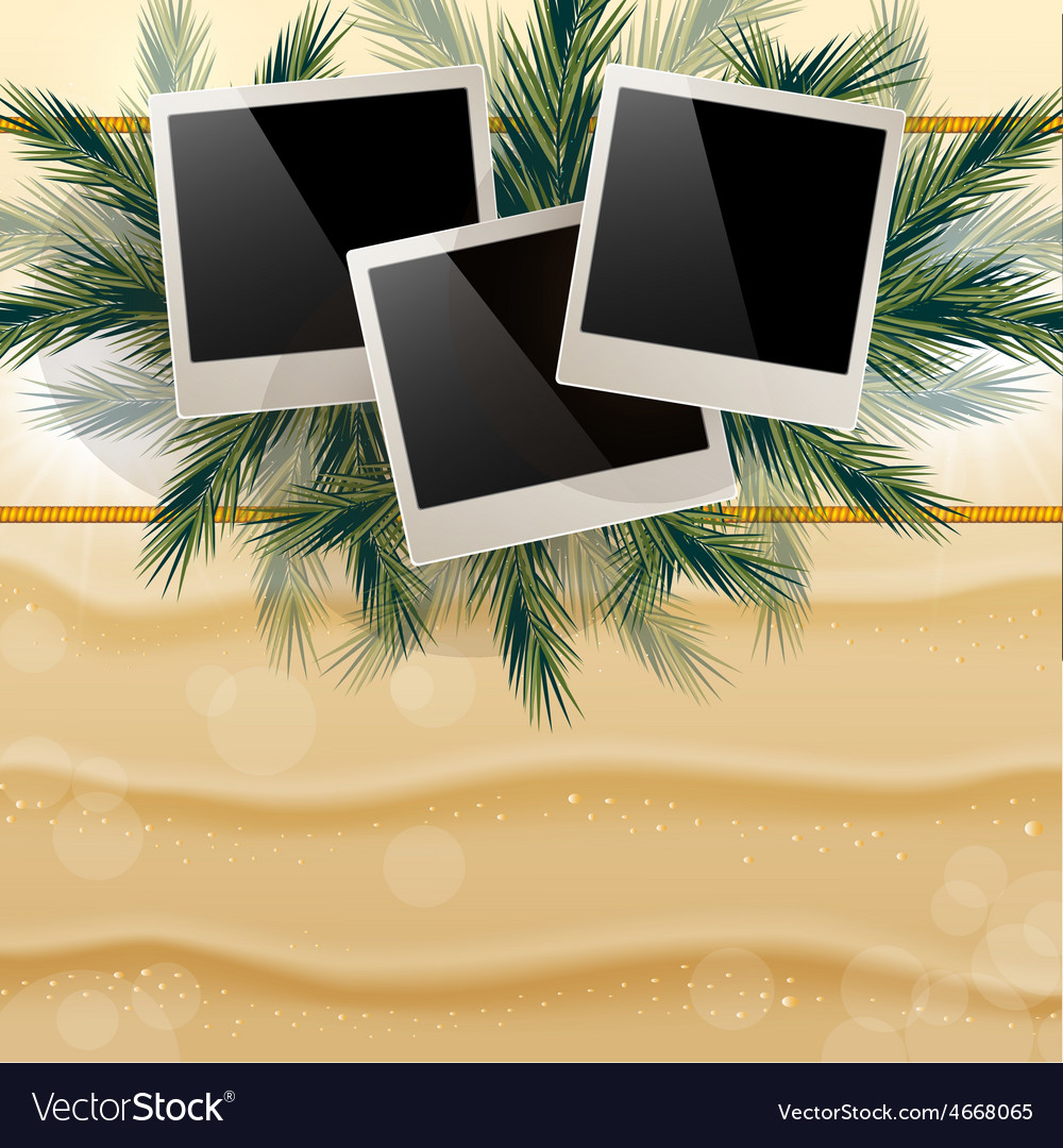 Bright background with golden sand and hung photos vector | Price: 3 Credit (USD $3)