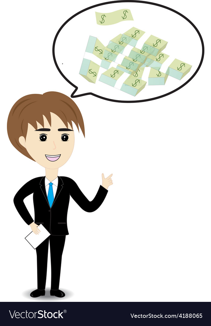Business man thinking to money vector | Price: 1 Credit (USD $1)