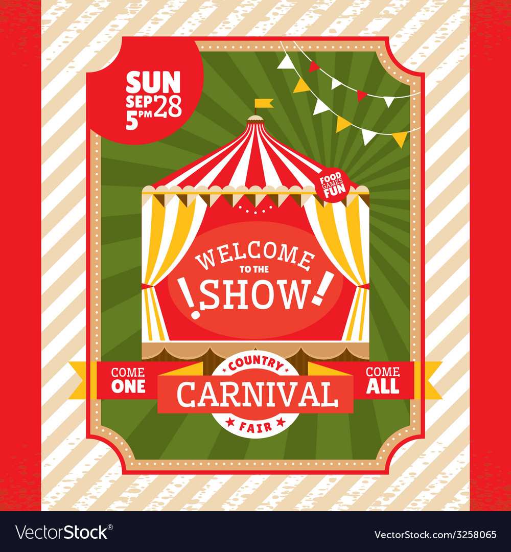 Country fair vintage invitation card vector | Price: 1 Credit (USD $1)