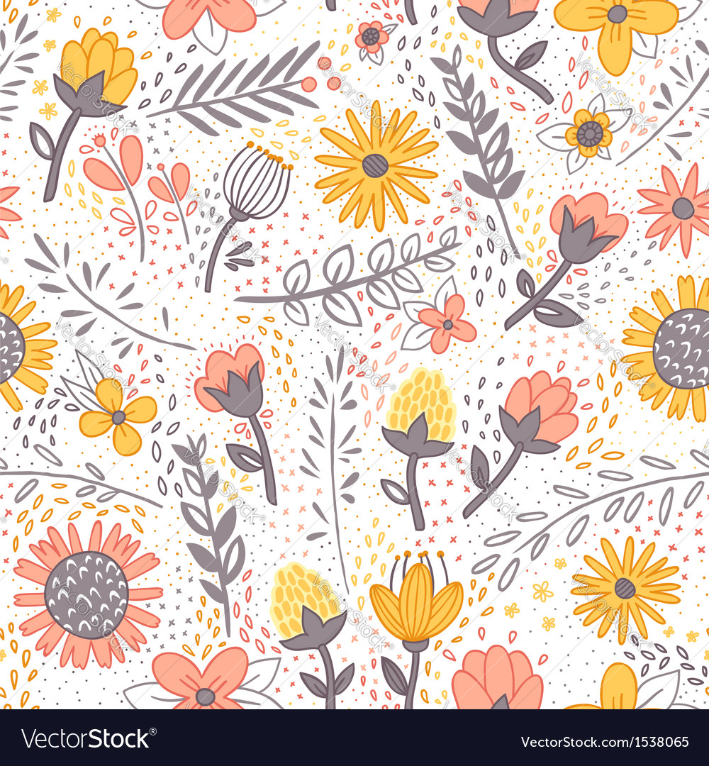 Field flowers doodle pattern vector | Price: 1 Credit (USD $1)