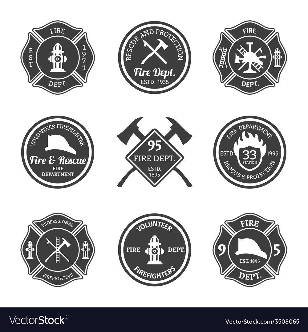 Fire department emblems black vector | Price: 1 Credit (USD $1)