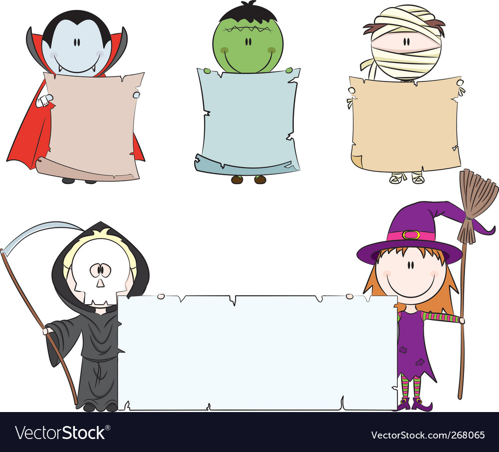 Halloween characters with empty banner vector | Price: 3 Credit (USD $3)