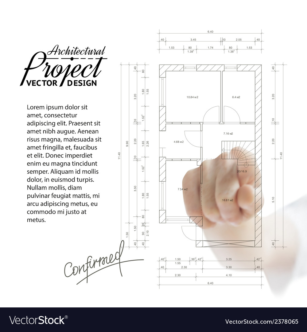 Human hand pointing architecture vector | Price: 1 Credit (USD $1)