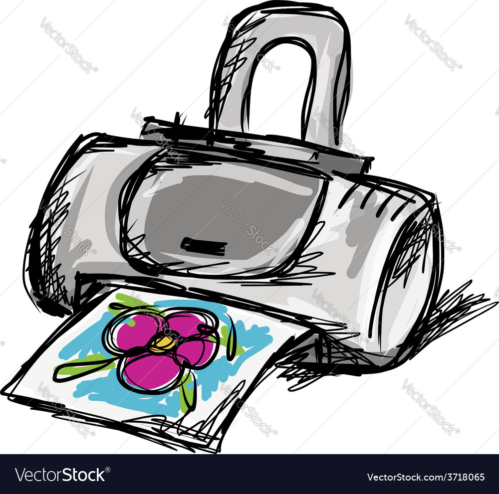 Printer sketch for your design vector | Price: 1 Credit (USD $1)