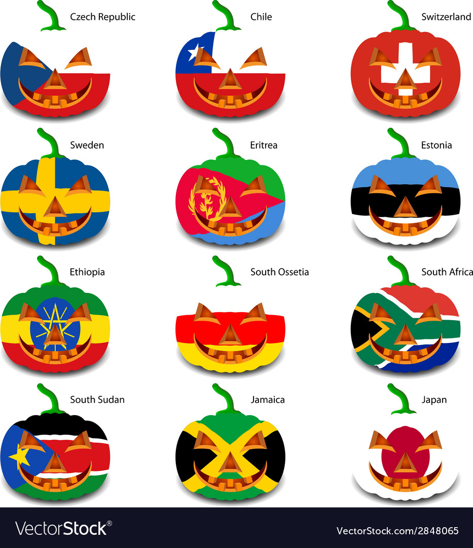 Set pumpkins for halloween as a flags of the world vector   Price: 1 Credit (USD $1)
