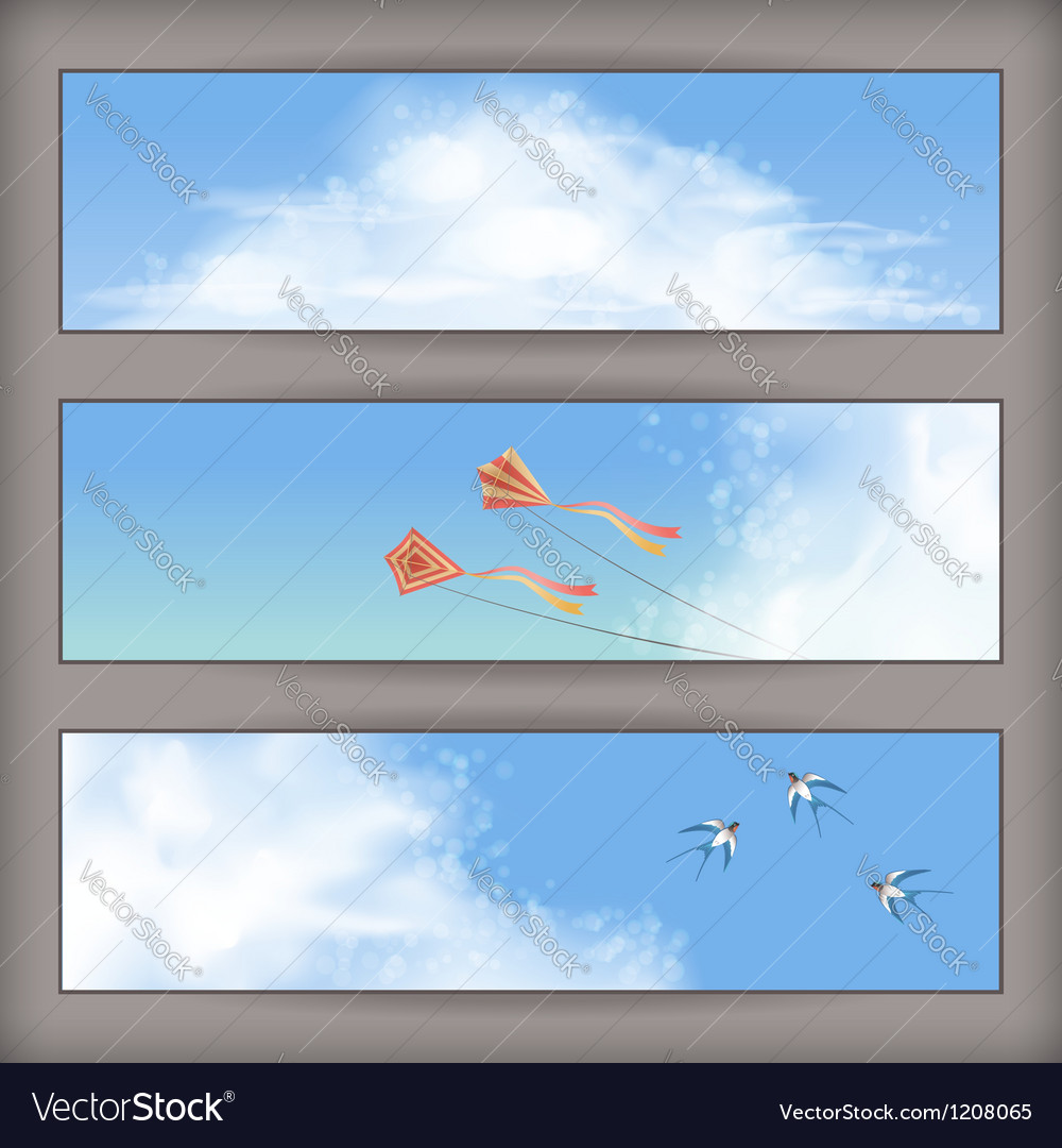 Sky banners white clouds flying kites swallows vector | Price: 1 Credit (USD $1)