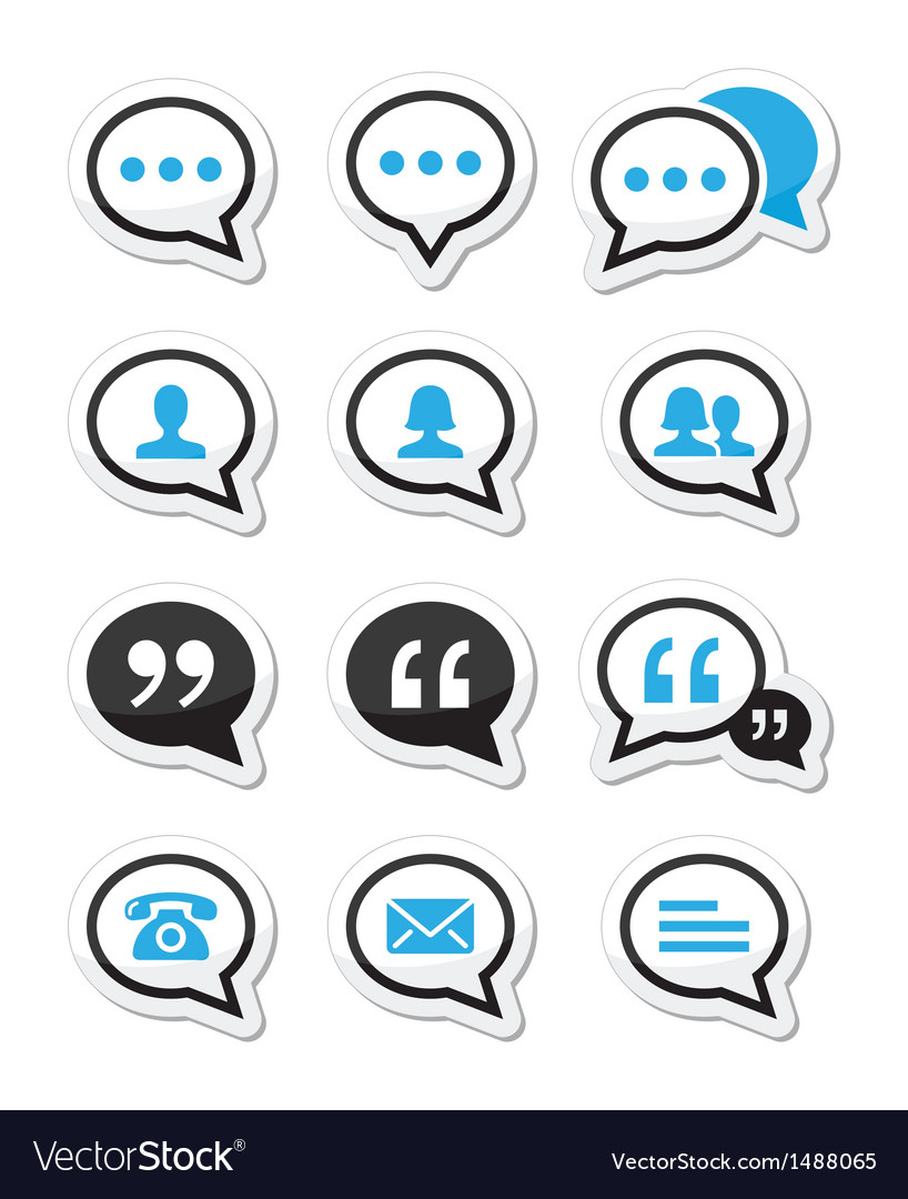 Speech bubble blog contact icons set vector | Price: 1 Credit (USD $1)