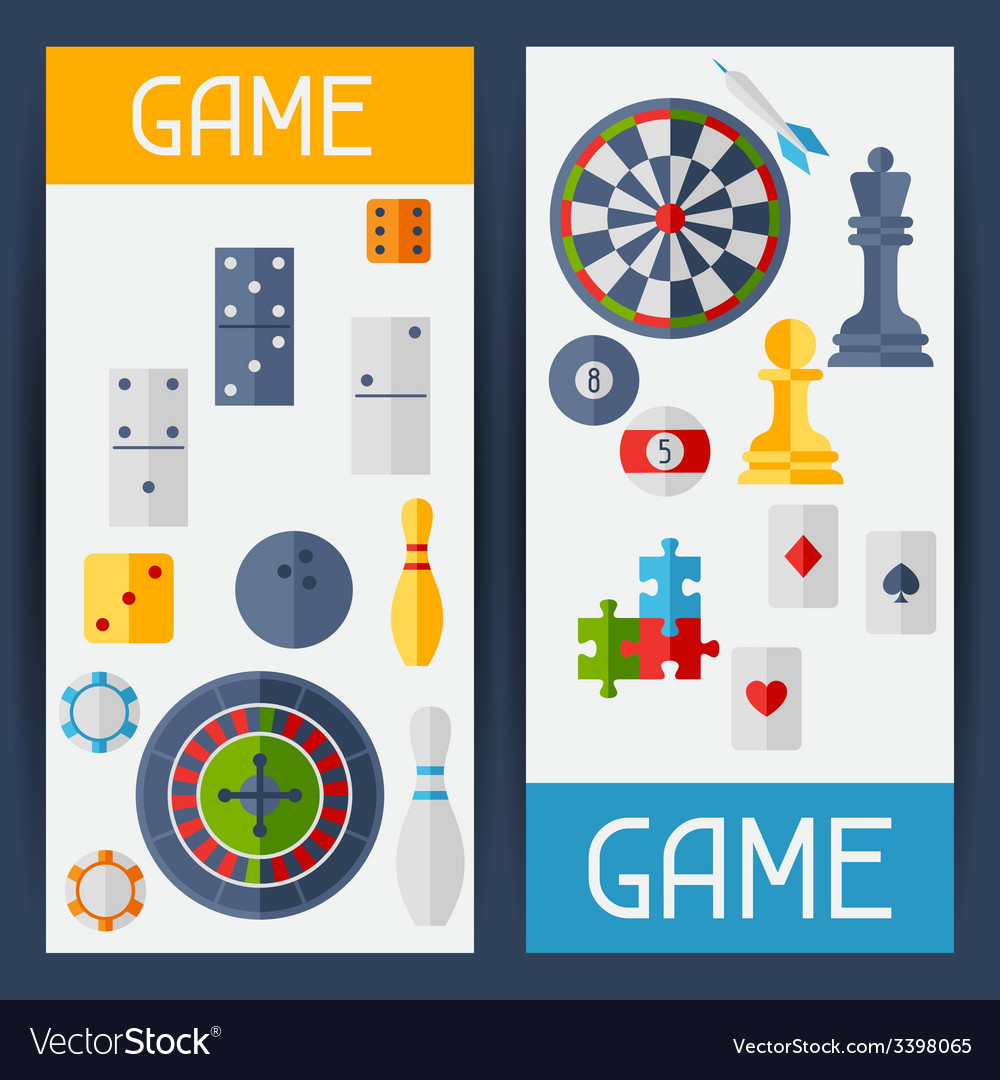 Vertical banners with game icons in flat design vector | Price: 1 Credit (USD $1)