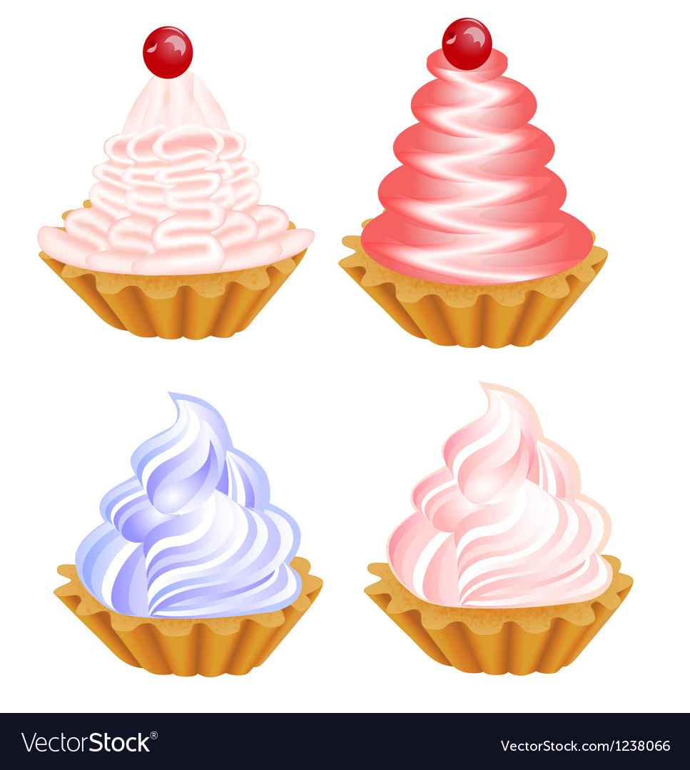 A set of delicious cakes on the white vector | Price: 1 Credit (USD $1)