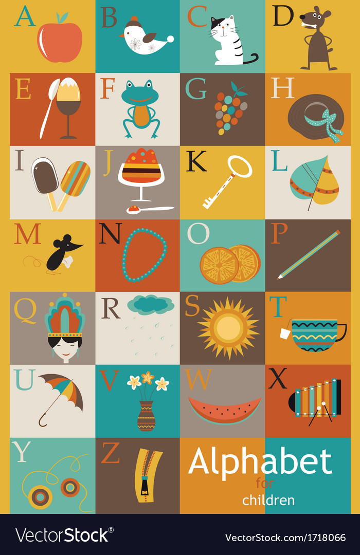 Alphabet with images vector | Price: 1 Credit (USD $1)