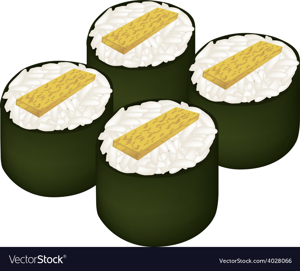 Fried egg sushi roll or tamagoyaki maki on white vector | Price: 1 Credit (USD $1)