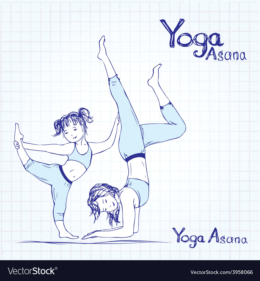 Girl and woman doing yoga poses vector | Price: 1 Credit (USD $1)