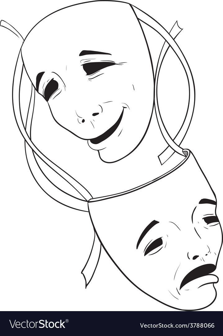 Two theater masks vector | Price: 1 Credit (USD $1)