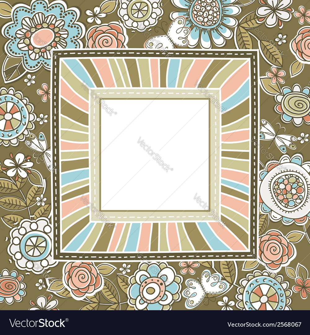 Background of hand draw flowers with square frame vector | Price: 1 Credit (USD $1)