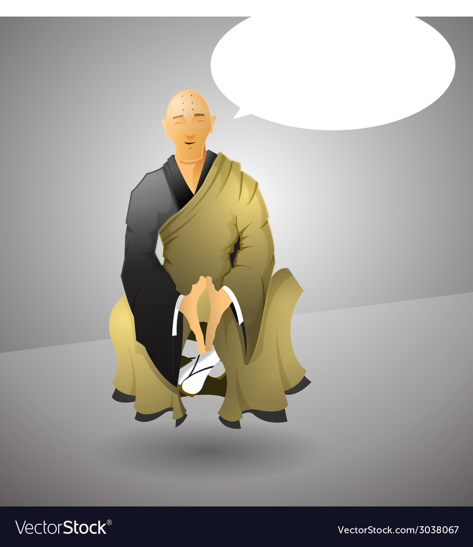 Buddhist monk doing yoga vector | Price: 1 Credit (USD $1)