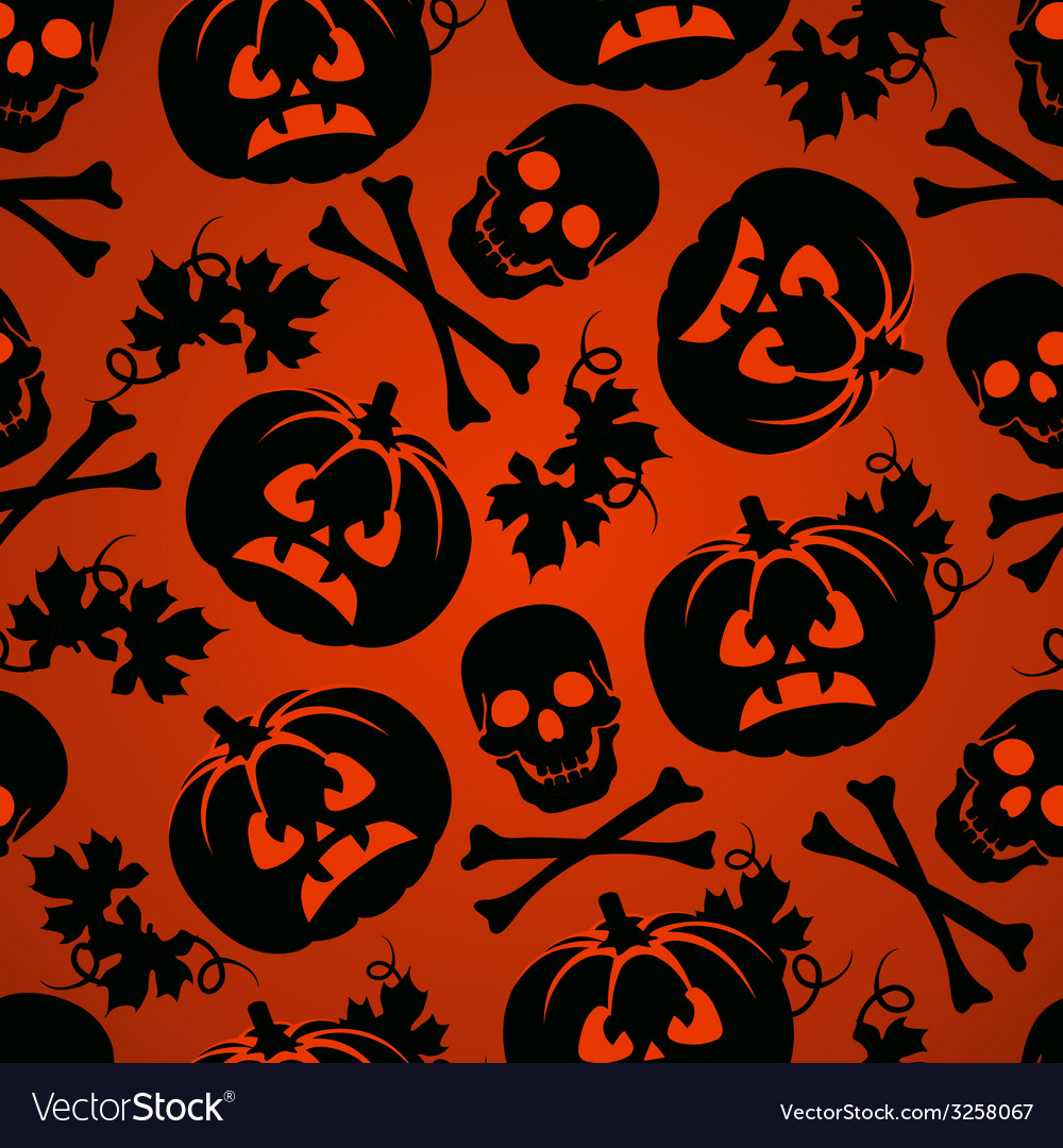 Halloween background with pumpkin and skeleton vector | Price: 1 Credit (USD $1)