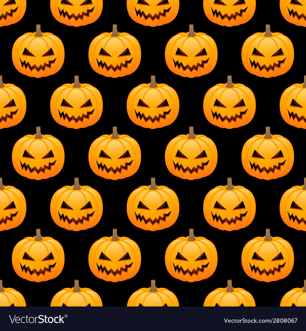 Halloween pumpkins seamless background vector | Price: 1 Credit (USD $1)