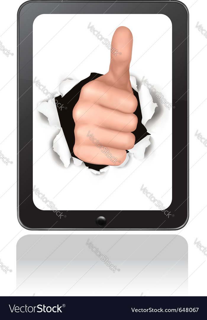 Hand with thumb up breaking through touchpad vector | Price: 1 Credit (USD $1)