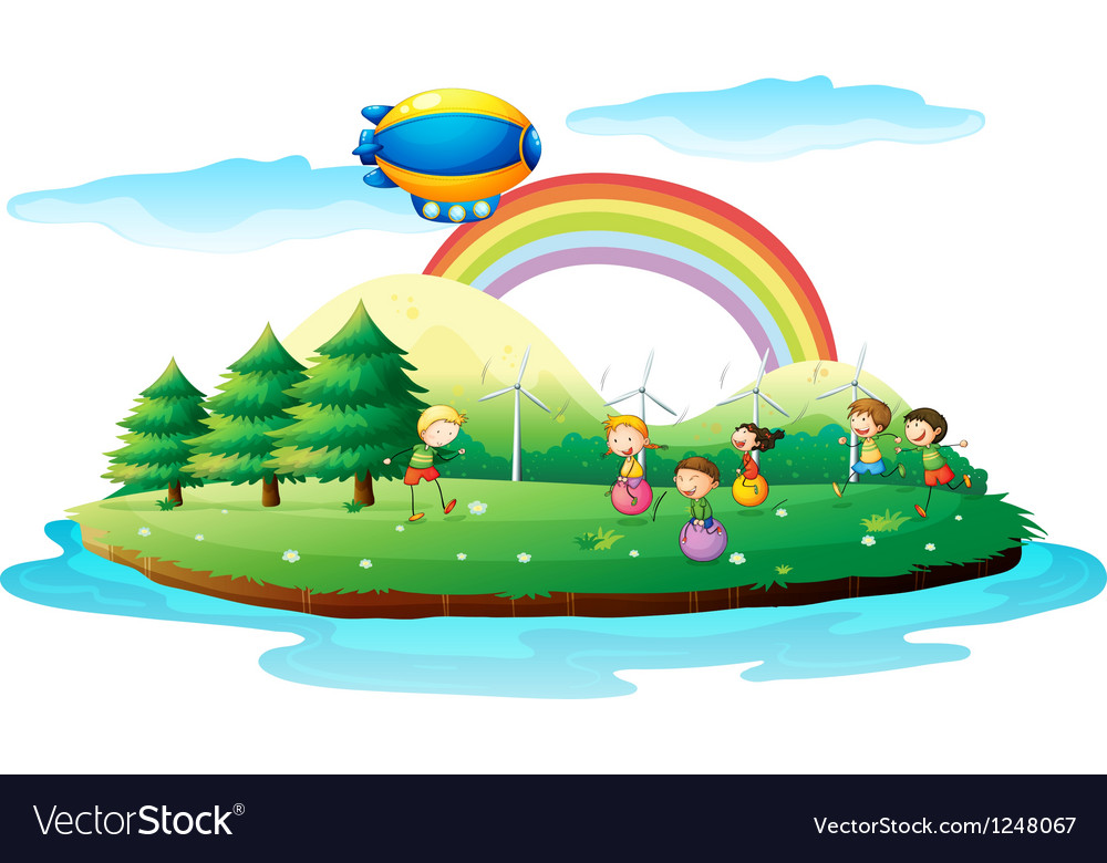 Kids playing in the ground vector | Price: 1 Credit (USD $1)
