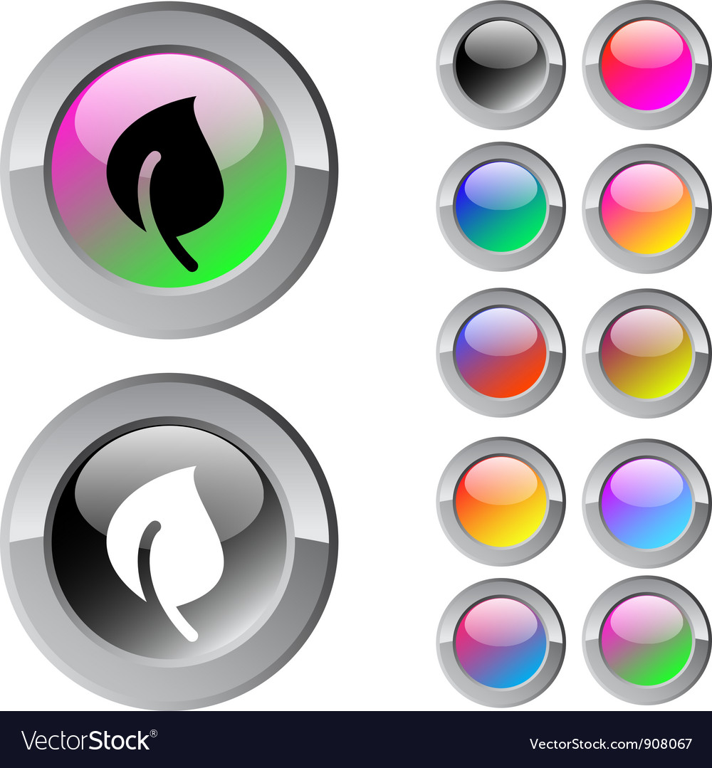 Leaf multicolor round button vector | Price: 1 Credit (USD $1)