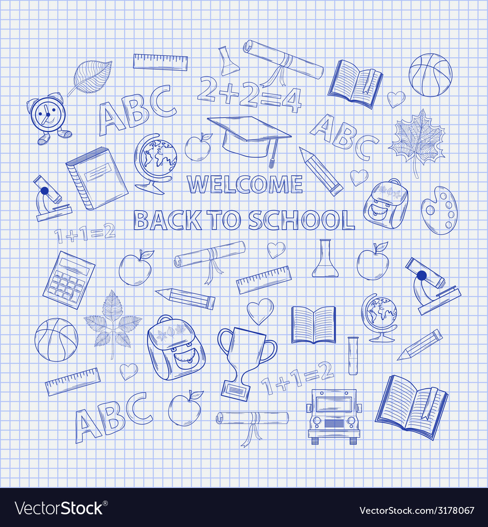 Set back to school on the notebook sheet vector | Price: 1 Credit (USD $1)