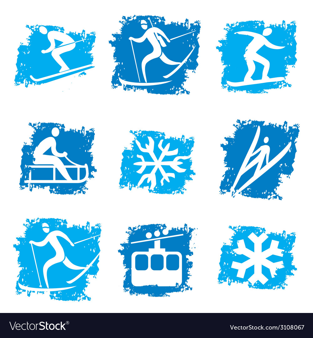 Winter sports grunge icons vector | Price: 3 Credit (USD $3)