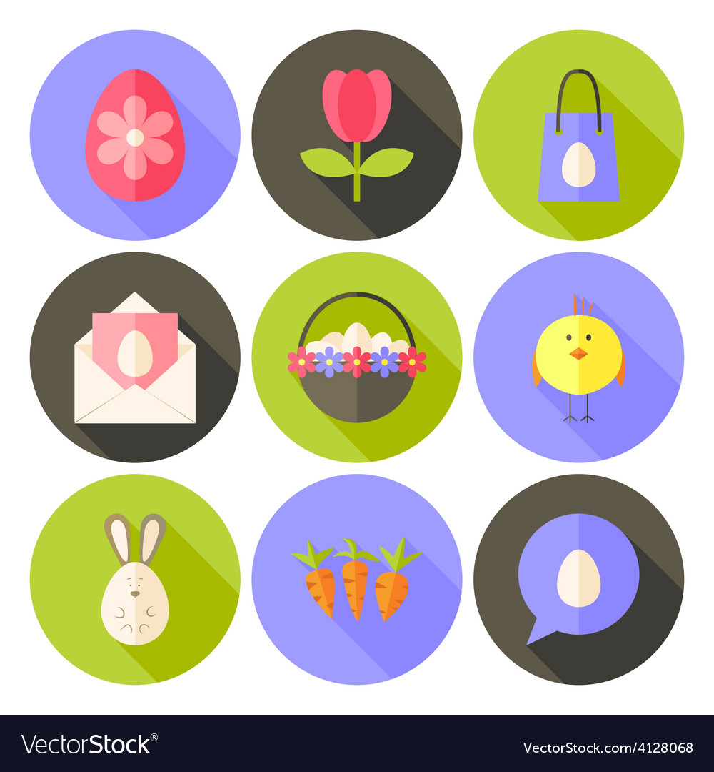 Easter flat styled circle icon set 2 with long vector | Price: 1 Credit (USD $1)