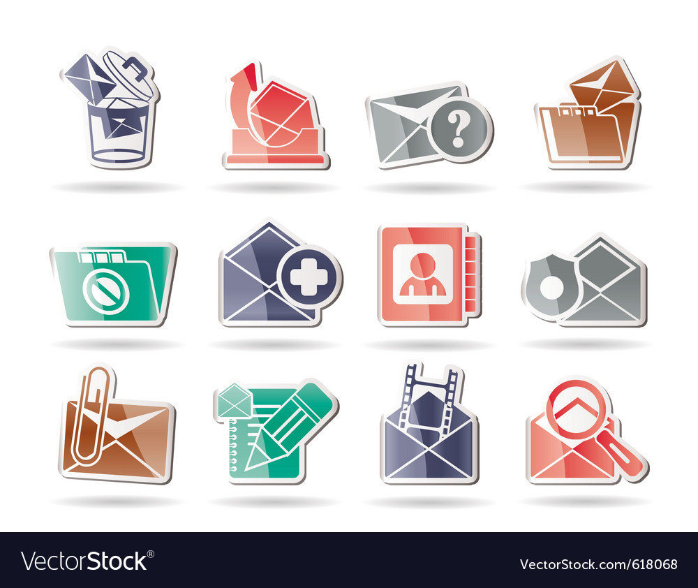 E-mail and message icons vector | Price: 1 Credit (USD $1)