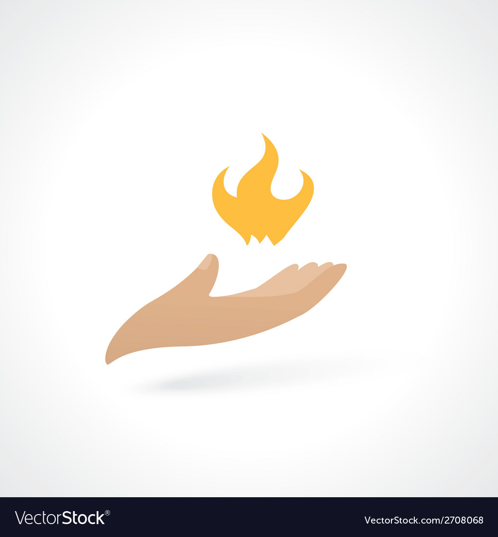 Fire in hand vector | Price: 1 Credit (USD $1)