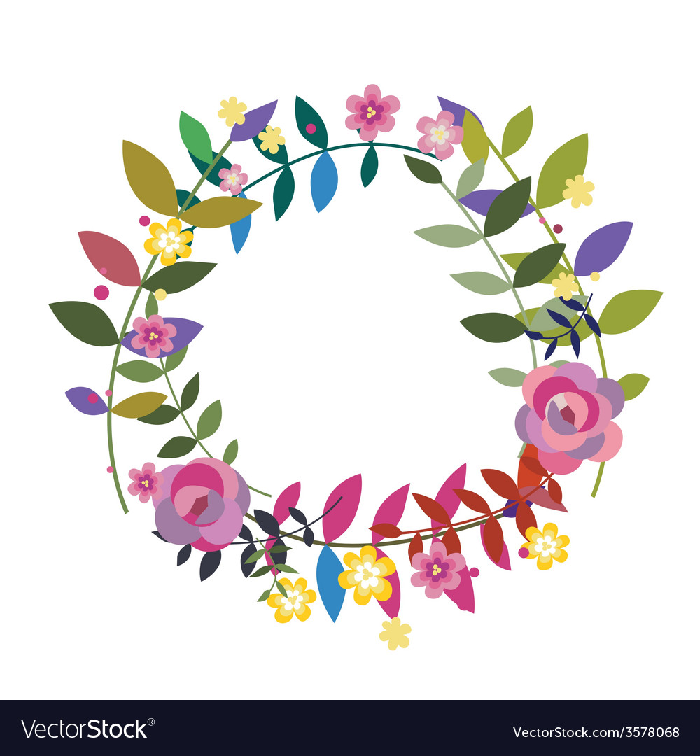 Floral wreath with bay leaves vector | Price: 1 Credit (USD $1)