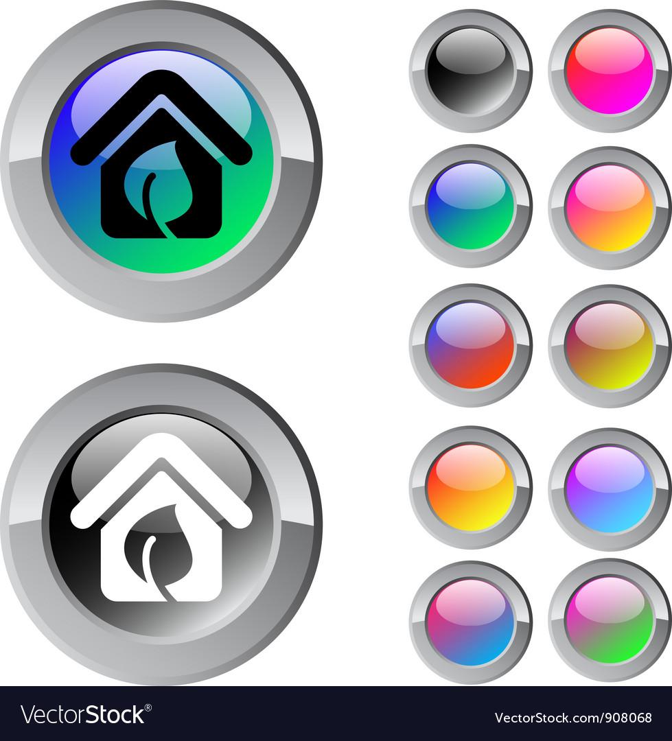 Green home multicolor round button vector | Price: 1 Credit (USD $1)