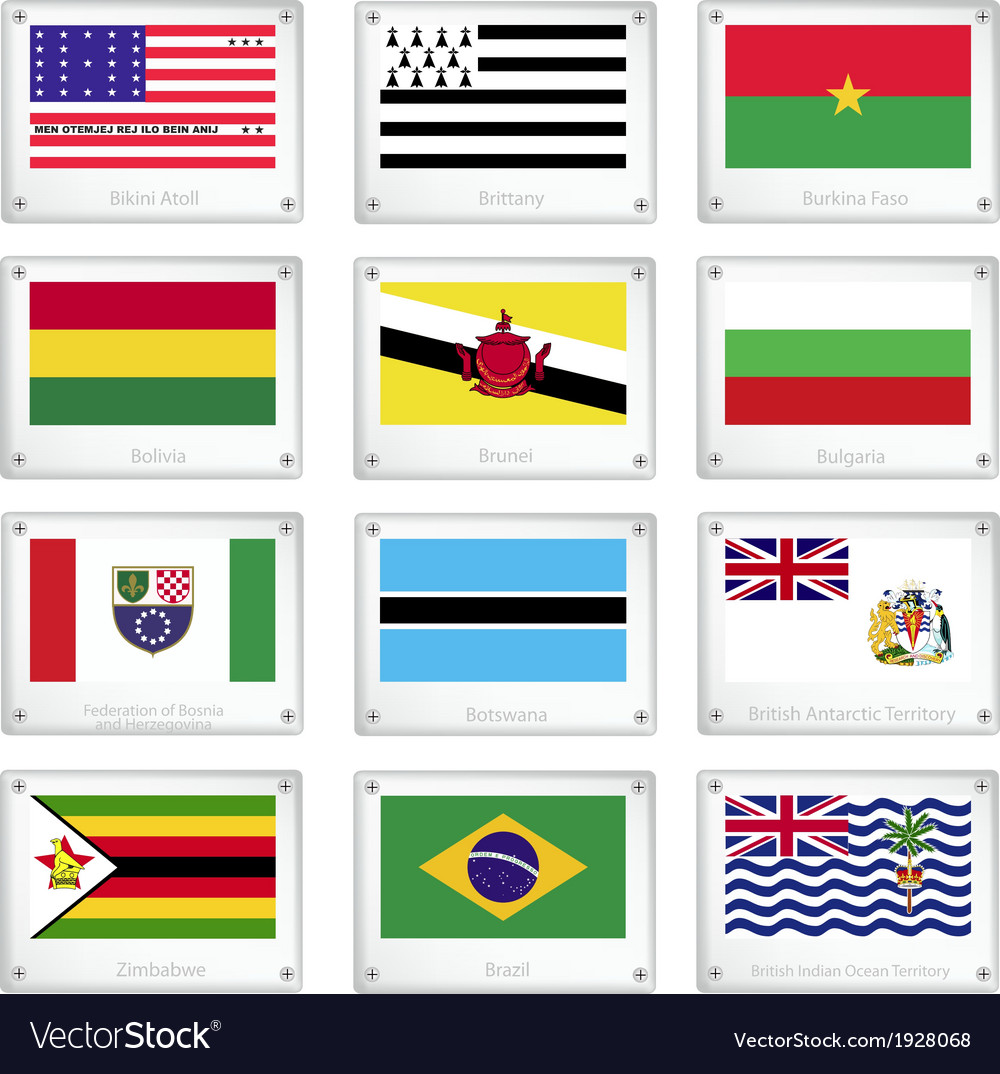 The national flags on metal texture plates vector | Price: 1 Credit (USD $1)