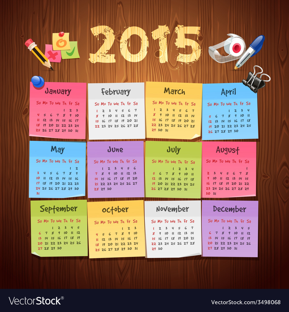 Office stickers calendar 2015 calendar on wooden vector | Price: 1 Credit (USD $1)