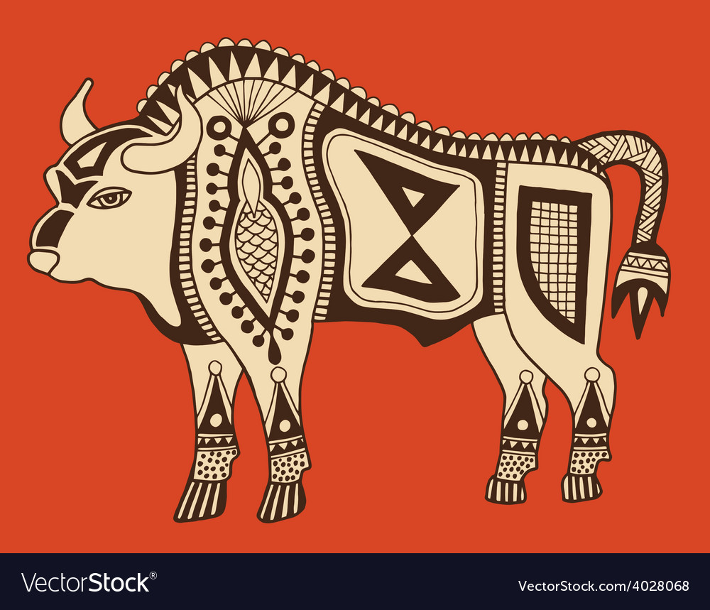 Original ethnic tribal bison drawing vector | Price: 1 Credit (USD $1)