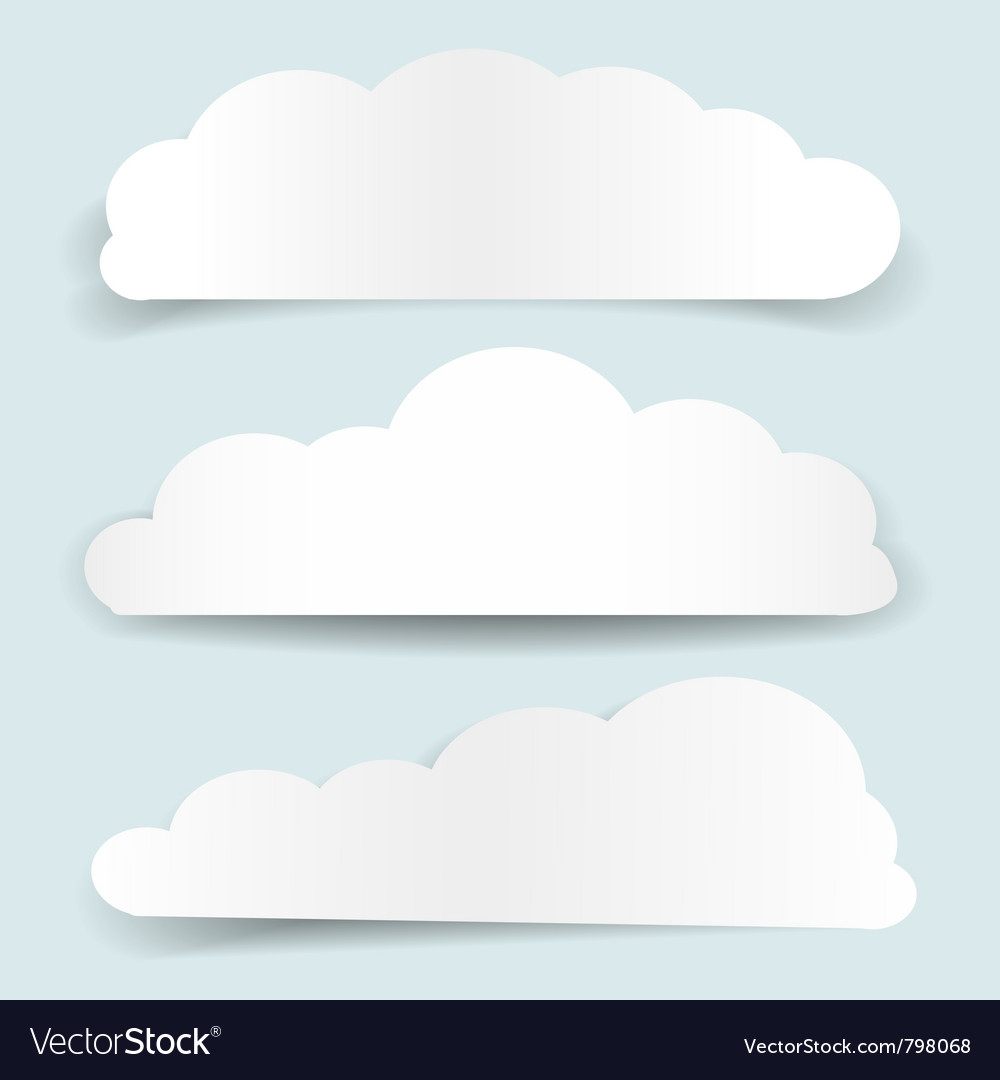 Set of cloud-shaped paper banners vector | Price: 1 Credit (USD $1)