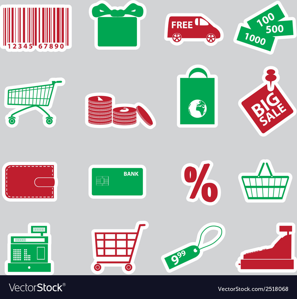 Shopping stickers set eps10 vector | Price: 1 Credit (USD $1)