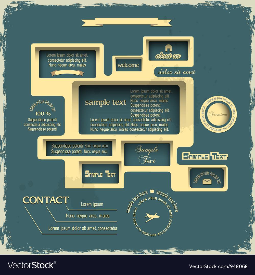 Web design in retro style vector | Price: 1 Credit (USD $1)
