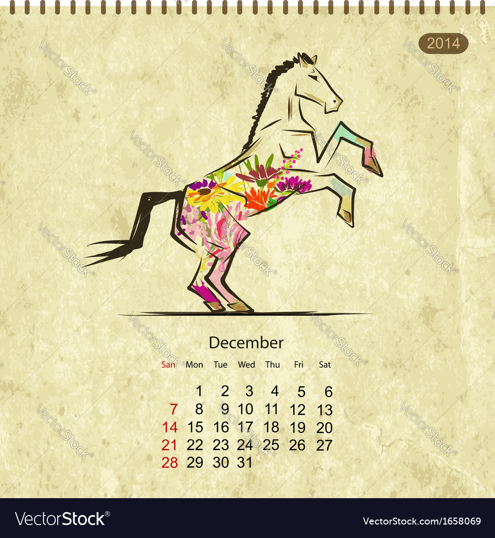 Calendar 2014 december art horses for your design vector | Price: 1 Credit (USD $1)