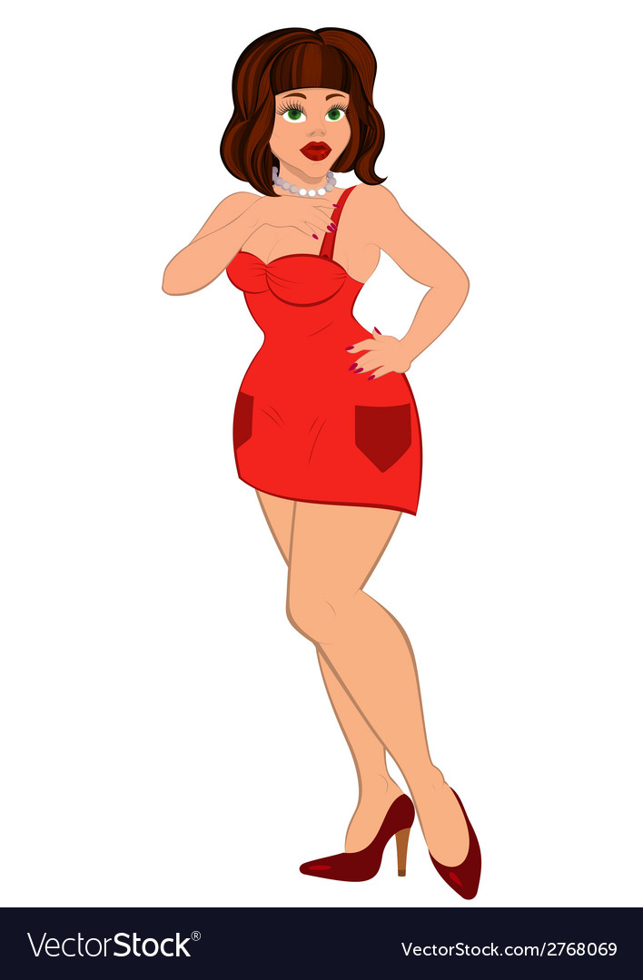 Cartoon sexy woman in mini red dress vector | Price: 1 Credit (USD $1)