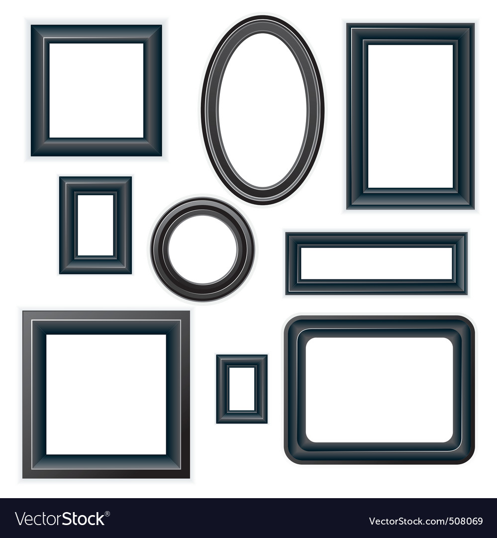 Classical black picture frames vector