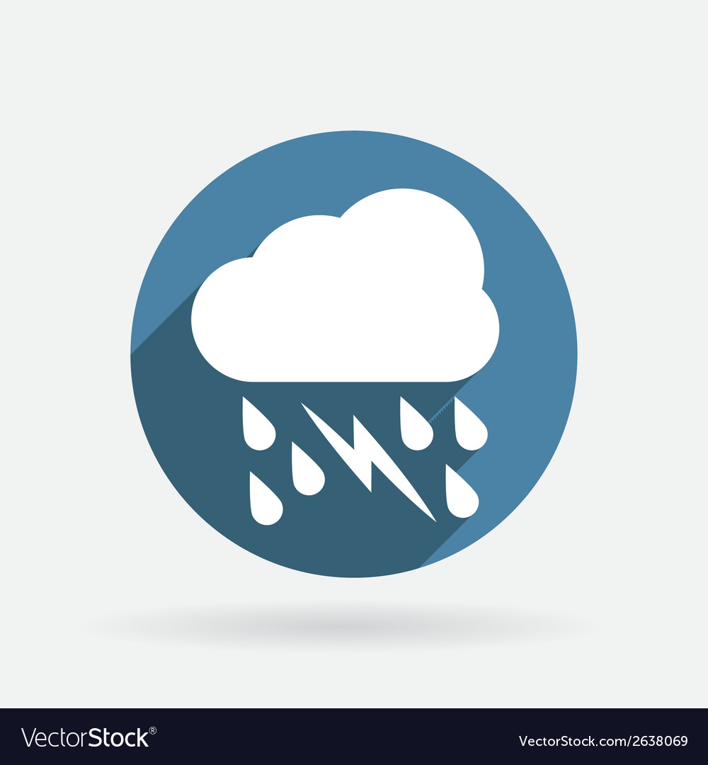 Cloud rain lightning circle blue icon with shadow vector | Price: 1 Credit (USD $1)