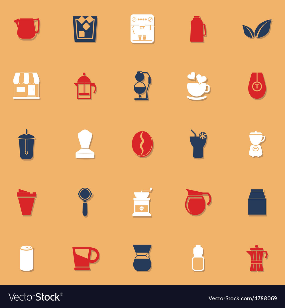 Coffee and tea classic color icons with shadow vector | Price: 1 Credit (USD $1)