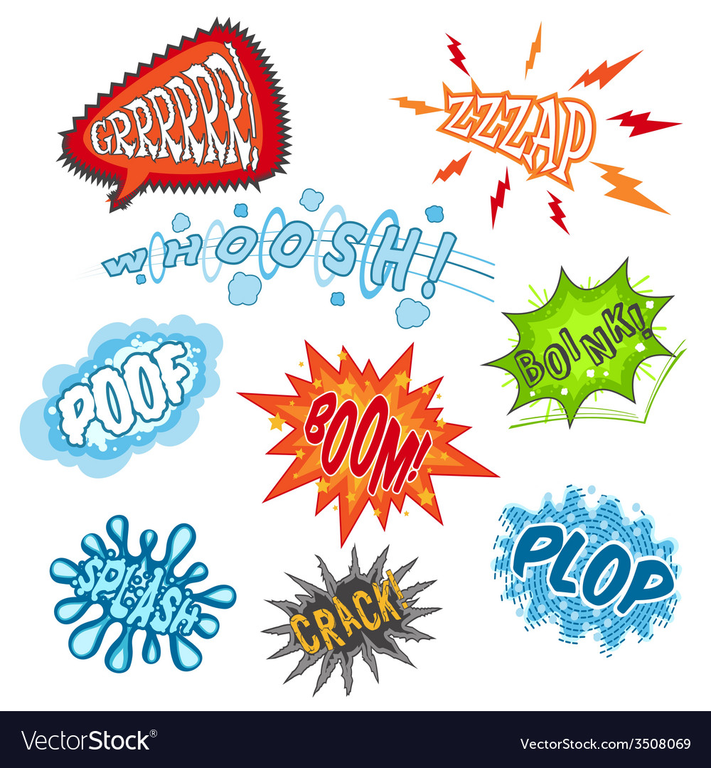 Comic sound set vector | Price: 1 Credit (USD $1)