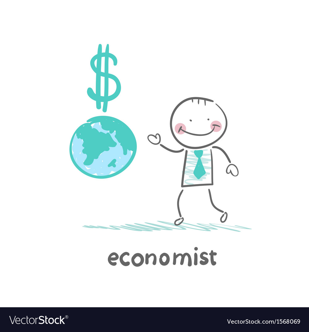 Economist is close to the planet and the dollar vector | Price: 1 Credit (USD $1)