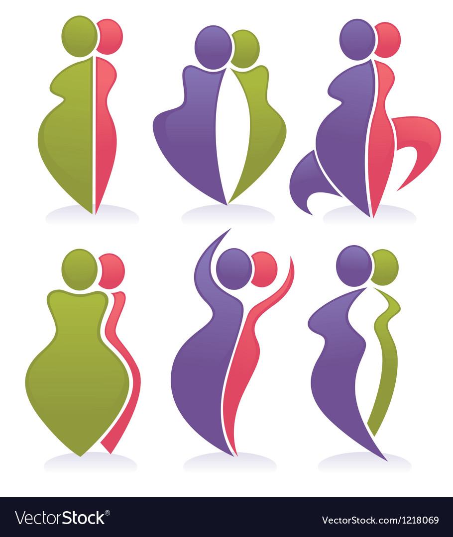 Fat and slim diet symbols vector | Price: 1 Credit (USD $1)