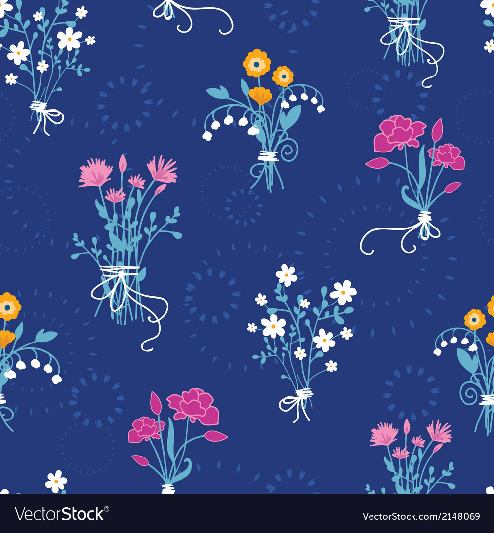 Fresh flower bouquets seamless pattern background vector | Price: 1 Credit (USD $1)